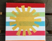 Rainbow striped sparkle sun painted woode  sign