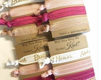 Will You be my Bridesmaid Gift - Bridesmaid Card - Bridesmaid Hair Tie Favors /Bridesmaid Proposal Gift for Bridesmaid - Tie the Knot Favors