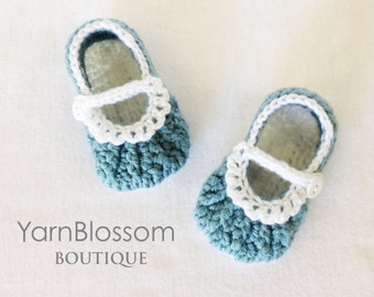 CROCHET PATTERN - Ava Baby Shoes - baby booties, baby girl, pattern, crochet shoes, instant download