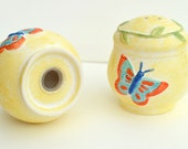 Yellow salt and pepper pots, salt cellar, salt pig with butterflies. Handmade in the UK in the vintage style