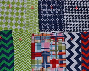 YOU PICK 3! Madras Navy Green Burp Cloths Custom Create your Own Set - Modern Burp Cloths - Pick Your Fabric! Madras Blue and Green