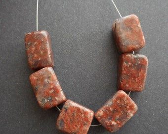 10pc chunky red Sesame Jasper gemstone cube beads