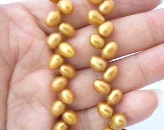 "6"" gold-Genuine fresh water Pearl beads"