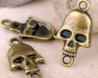 "6pcs- 1"" Skull charm connector-Antique brass metal bracelet connector, earring connector-ALZ 0273"