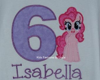 Personalized Birthday Girl Short Sleeve Ruffle Shirt with Pony