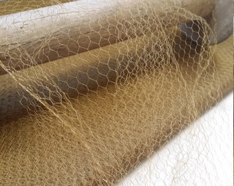 """16"""" wide: Vintage Antique/Old Glod French Veiling millinery, veil, honeycomb,netting bridal, fascinator, cloche, millinery supplies V36"""