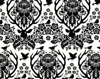 90352 Joel Dewberry Birch Farm - Antler Damask in Black Home Dec fabric - 1 yard SAJD025