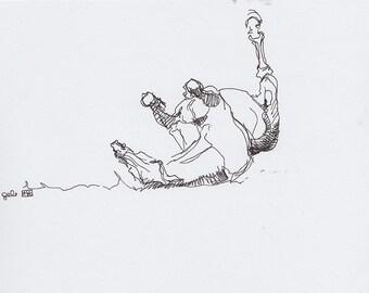 Original Sketch of Rolling Horse, Animal, Contemporary Original Study, Quick Sketch