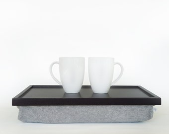 Breakfast serving pillow tray, laptop stand, riser - black with grey melange soft double jersey Pillow