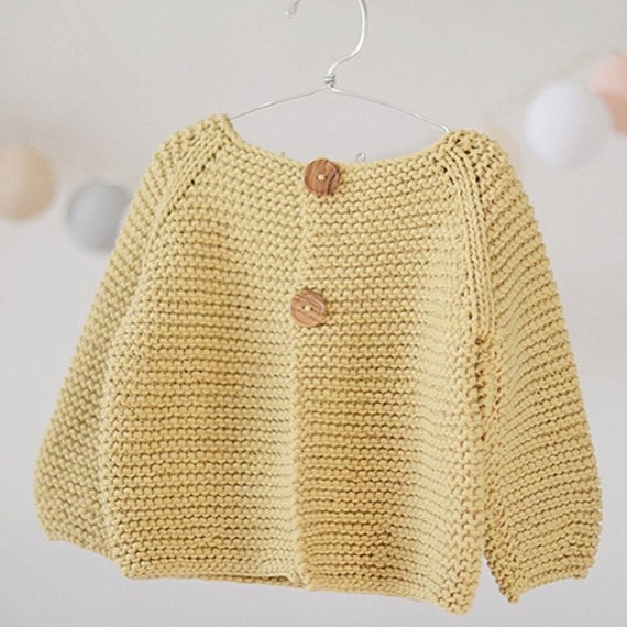 Toddler Cardigan Knitting Pattern : KNITTING PATTERN for Beginners Sweater Jumper Basic Baby