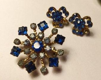 Vintage Blue Rhinestone Costume Brooch and Clip Earrings Set