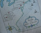 CUSTOM Wedding Gift, Lake Pillow, Map Pillow, Personalized, Anniversary Gift, Nautical, Ocean