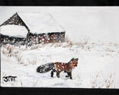 "Winter Scene painting on 4"" x 6"" linen canvas sheet, fox painting, wildlife painting, acrylic art, original art, wall art, wall decor"