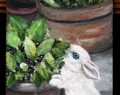 "Bunny painting on 11"" x 6.25"" wood board, original acrylic art, unframed art, wall decor, home decor, wall art, children's art, kid's art"