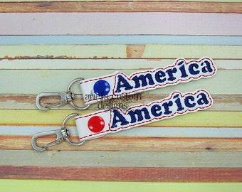 America Snap Tab Keyring - Keychain Keyfob