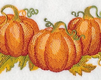 Watercolor Pumpkin Patch Embroidered Flour Sack Hand/Dish Towel