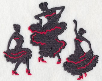 Flamenco Silhouette Dance Fashion Dancing - Embroidered Flour Sack Hand/Dish Towel