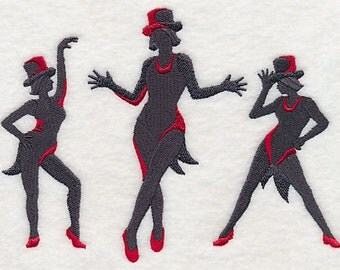 Jazz Silhouette Dance Fashion Dancing - Embroidered Flour Sack Hand/Dish Towel