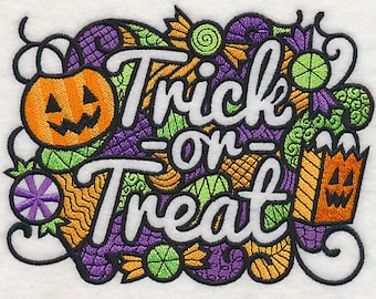 Blackwork Trick or Treat Embroidered Flour Sack Hand/Dish Towel