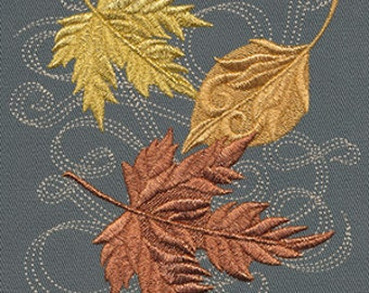 Falling Autumn Leaves Embroidered Flour Sack Hand/Dish Towel
