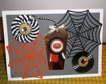"""Spider Webs and Coffin Halloween Hand Made Greeting Card """"Jack-O-Lantern"""""""