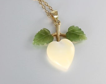 Mother of Pearl Necklace, Heart Jade leaf Pendant, Sterling silver Gold filled Vintage jewelry