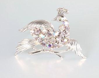 Bird of Paradise Pegasus Coro Brooch, Pink rhinestone Brooch, Bird Lover vintage jewelry