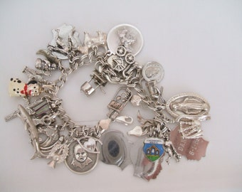 Vintage Sterling Silver Charm Bracelet Wishing Well Cairn Terrier Navajo Pottery Grand Canyon Heart Cactus Bagpipes Thistle Horse Shoe Heavy