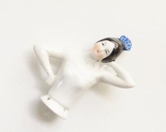 Vintage German Porcelain Flamingo Dancer Figurine Hat Pin Half Doll Hat Pin 1920s