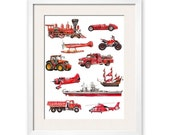 Things that Go Red! Transportation Art Print