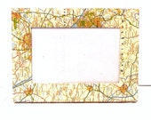 Vintage Map Covered Freestanding Photo Frame 6x4 inches Wall Mounted Homeware Handmade Upcycled