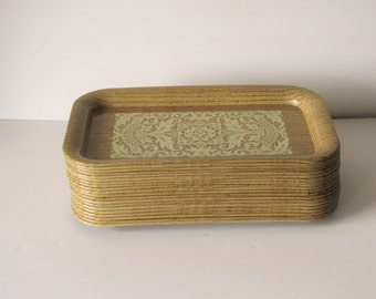 Vintage Brown TV Trays - Faux Wood and Lace - 20 available