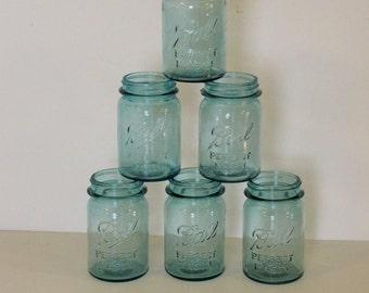 Vintage Pint Size Aqua Ball Canning Jars - set of six