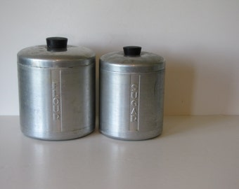 Vintage Retro Silver Colored Kitchen Canisters - Set of Two - Flour and Sugar