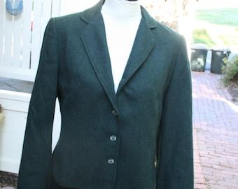 Vintage 1980s Blazer teal blue green Jacket Bobbie Brooks Short Fitted 80s wear