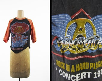 Vintage Aerosmith 1983 Tour T-shirt Rock in a Hard Place Concert Shirt Jersey - Small / XS