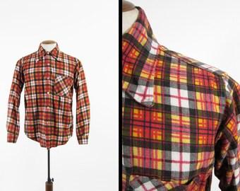 Vintage 70s Orange Flannel Shirt Cotton Autumn Plaid Button Up - Medium