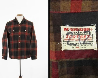 Vintage 60s McGregor Plaid Shirt Ultimate Scotset Red Loop Collar Long Sleeve - Medium