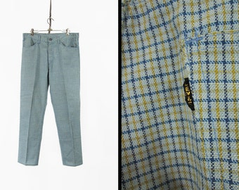 Vintage Levi's Big E Pants Sta Prest 1960s Green Blue Tattersall Plaid Retro Trousers - 34 x 29