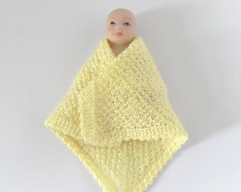 Dollhouse Miniature Baby Doll Blanket Shawl, 1:12 Scale, Hand Knit, Crochet with Yellow Fine Soft Cotton Thread by Miniaturejoy