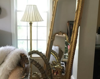 Stunning French Louis XIV Mirror. Barbola Flowers. Gilded Frame. Artist styling Prop. Floor mirror. Espejo