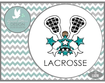 Lacrosse Sports Banner with Stars LL029 I - SVG - Graphic Design - Cut File - ai, eps, svg, dxf (for Silhouette users), jpg, png