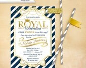 Little Prince Baby Shower Invitation Invite Printable Gold Navy