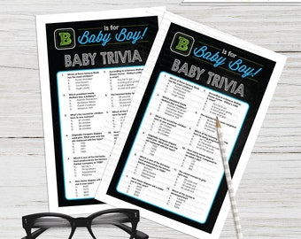B is for Boy Baby Trivia Baby Shower Game  - Instant Download