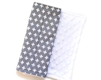 Baby Burp Cloth Grey Plus Remix - Minky Burp Cloth - Grey Burp Cloth - Baby Shower Gift - Monochrome Burp Cloth - Plus Sign Burp Cloths
