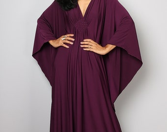 Dark Purple Kaftan Dress - Kimono Butterfly Dress: Funky Elegant Collection No.1s