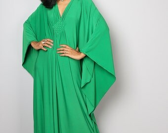 Green Maxi Dress - Kaftan Kimono Butterfly Dress: Funky Elegant Collection No.1s
