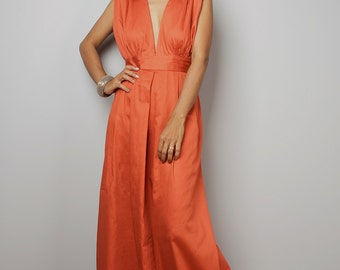 Orange Maxi Dress - Long Formal Orange dress - Orange Dress  : Oriental Secrets Collection II