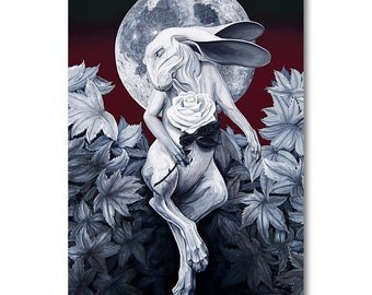 Moon, Hare, Rose - Signed Limited Canvas Art Print - Sz. 36'' x 24'' - Original Art By Sku Style