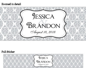 50 Personalized Glossy WATERPROOF Wedding Water Bottle stickers - many designs to choose from - change designs to any color or wording WW041